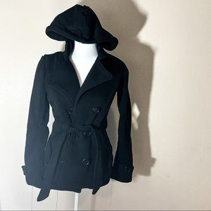 Black warm soft hooded trench coat